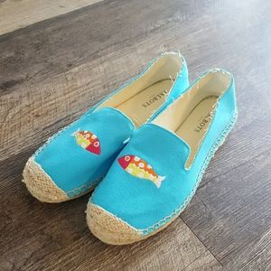 Talbots canvas blue embroider flat slip on shoes